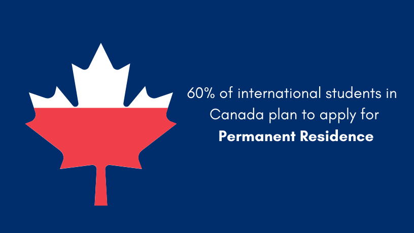 60 per cent of International Students plan to apply for Permanent Residence in Canada