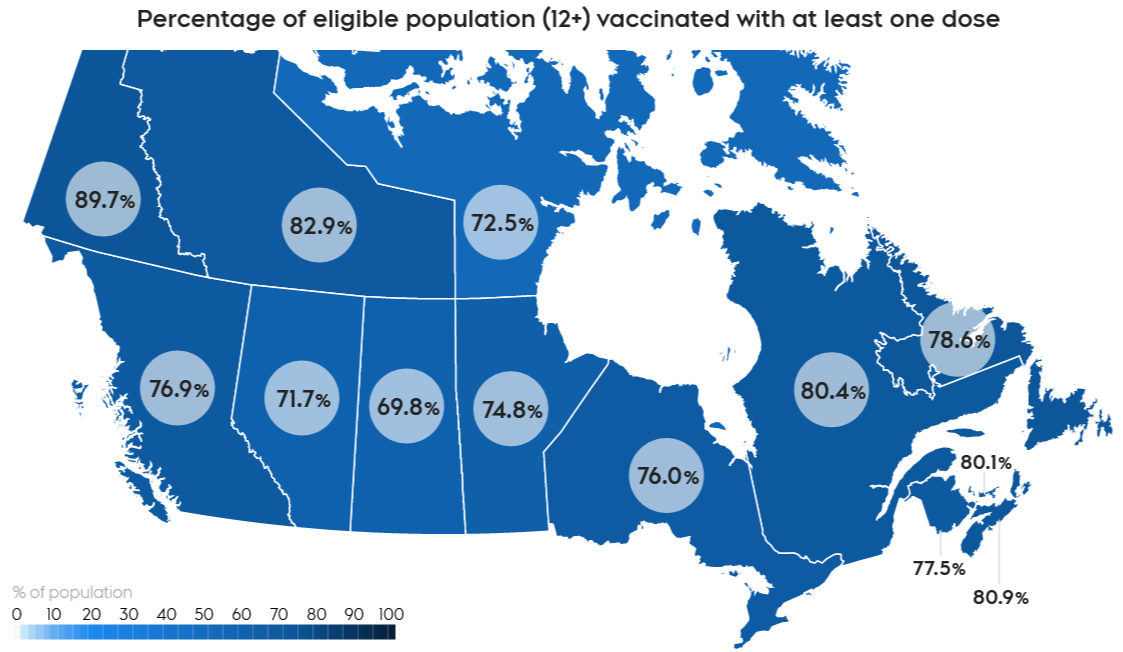 Map: Canada COVID Vaccination by Province