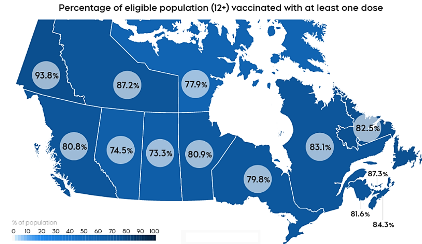 Map-Canada Vaccination Coverage by Province